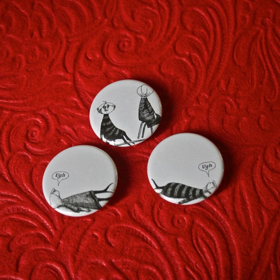 Edward Gorey Pinback Buttons - Set of Three 1.25 inch Featuring a Bicycle Accident