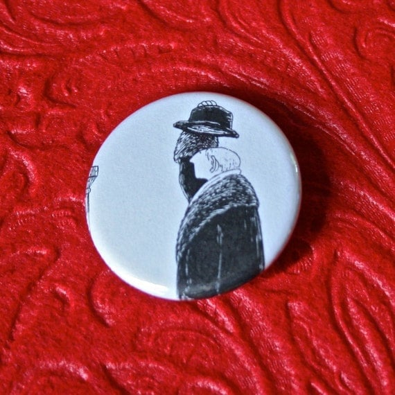 Edward Gorey Pinback Buttons - Set of Three 1.25 inch Featuring Gentlemen