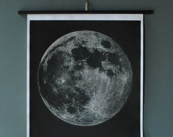 Moon Chart Print (Signed) Silkscreen two color silver and black mounted and ready to hang