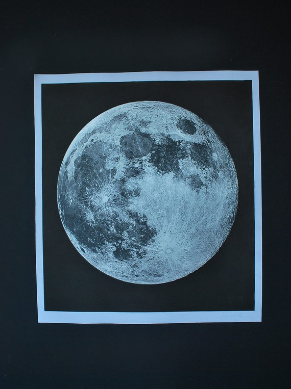 Moon Print  Signed Moon Rise serigraph and silkscreen, Space Science Celestial Space and Science The best since 2008
