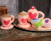 Felt Food Pink Tea Party Set, Photography Prop, Cookies, Eco-friendly - Mothering Magazine Best Natural Toy Guide