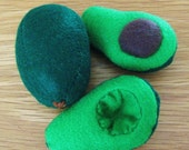 Eco-felt Whole Avocado and Avocado Halves Set - play cooking, pretend, kitchen, fruits and vegetables