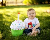 Felt Birthday Cupcake with Candle, Made to Order, Photo Prop, Giant, Plush, First Birthday Photo Shoot