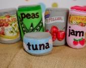 Felt Canned Food Set, Grocery store, Pretend play, Preschool Kitchen