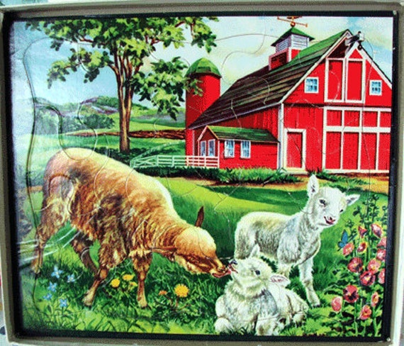 SALE-   Boxed Set of Four 1955 Whitman Jigsaw Puzzles - Farm Animals