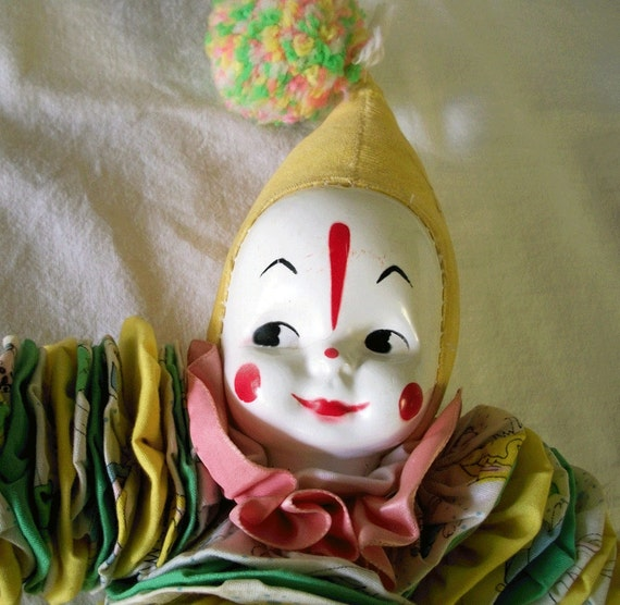 1950s Yo-yo Clown Doll with Celluloid Face - TREASURY ITEM