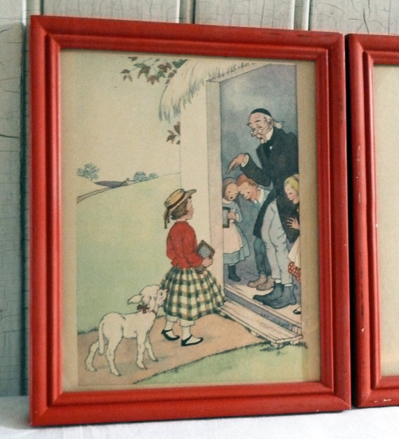 Mary Had a Little Lamb - Red Framed 1950s Picture Pair