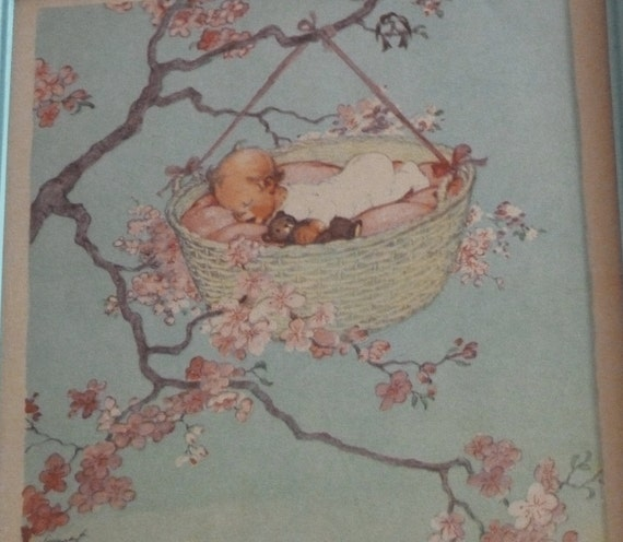 Rockabye Baby - Turquoise  Framed Picture Pair - TREASURY ITEM