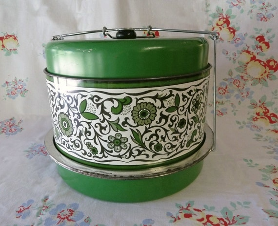 1960s Grass Green Flowered Three Level Cake and Food Carrier