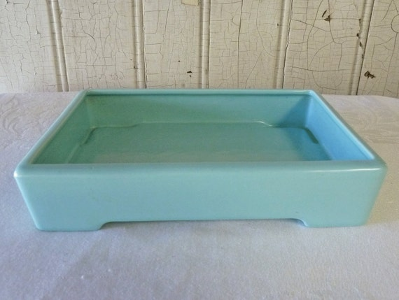 Vintage Franciscan Blue Rectangular Tray - Tabletop or Serving - 1940s - TREASURY ITEM