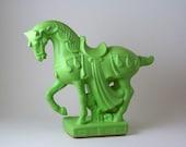 Green Ceramic Fancy Horse Statue