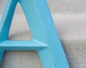 "Large Aqua Uppercase Letter A 16"" Tall - Shabby Chic - Nursery Decor"