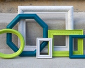 Painted Picture Frames - Turquoise, Lime Green, White - Collection of 6