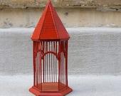 Decorative Red Birdcage & Yellow Bird in Nest - Mantel Decor