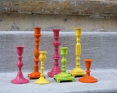 Colorful Painted Candle Holders Set of 7 - Hot Colors