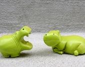 Hippos - Lime Green Figurines Statues - Pop Art - Nursery Decor