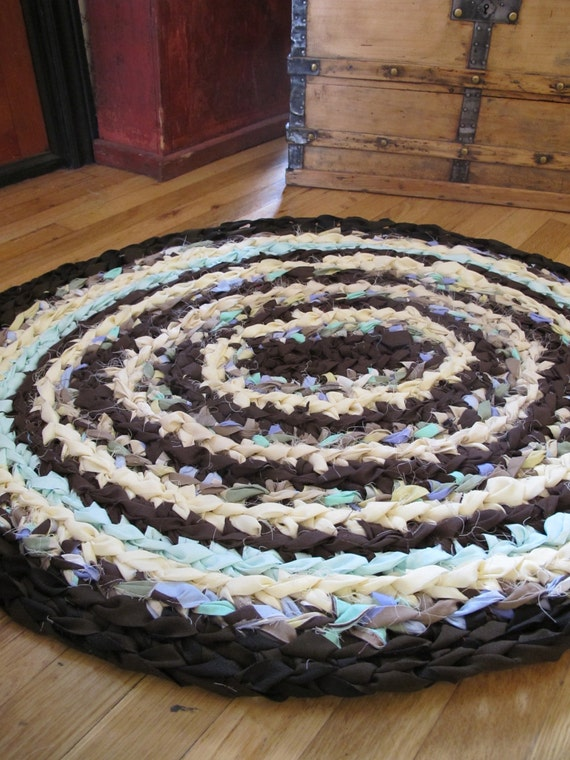 Crochet Rag Rug in Brown, Yellow and Minty Green