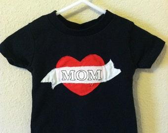 Mom Tattoo Valentine Shirt-Black