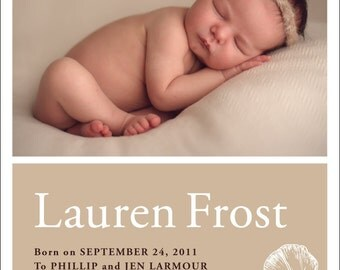 Baby Announcement Photo Card - Print Yourself
