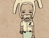 """The Bunny Boy - 4"""" x 6""""  Illustration Note Card Set of 6"""