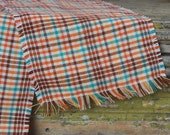 60's wool checkered scarf plaid with fringe