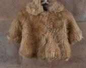 60's little girls baby bunting faux fur coat
