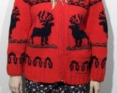 70's canadian rustic up north red hand knit wool sweater with deer and pine trees unisex