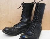 60's black leather military jump boots combat boots mens 8 1/2