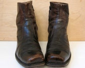 70's distressed brown motorcycle boots beatle boots chelsea leather ankle boots men's 9