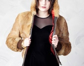 RESERVED vintage 60's rabbit fur and leather zip up bomber jacket with large hood women's small