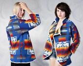 vintage 70's PENDLETON vibrant southwest aztec navajo coat women's