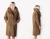 vintage 60's textured wool coat with mink fur collar women's winter high fashion