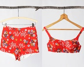 SALE vintage 60's flower print swimsuit  with high waisted shorts and bullet bra women's retro mod hip - foxandfawns