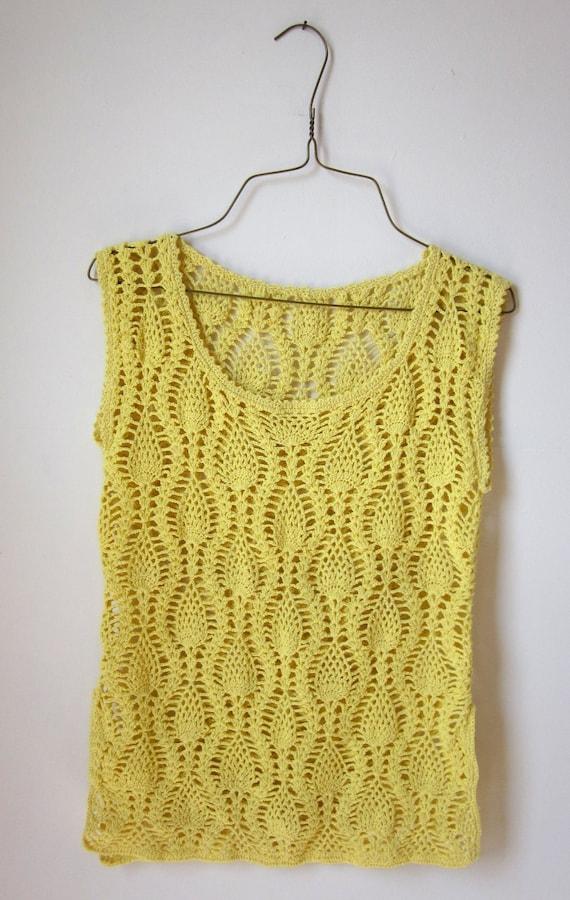 70's crocheted little miss SUNSHINE yellow knit top women's
