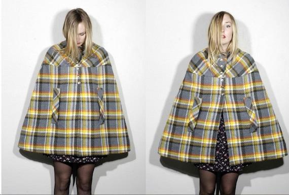 50's plaid cape by beeline fashions preppy swing cape coat fall winter women's
