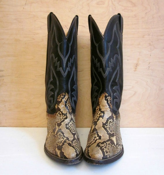 vintage authentic SNAKESKIN and leather cowboy boots NOCONA