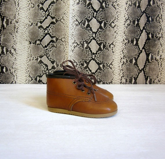 vintage 70's BABY worker guy boots leather lace up toddler