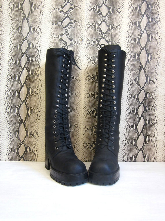 vintage 90's ALDO witch goth grunge flatform tall black leather lace up boots knee high women's 39 40