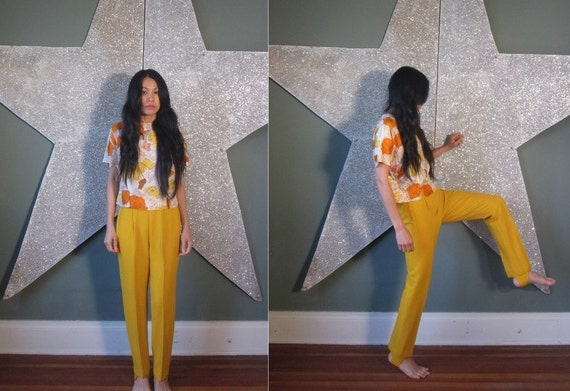 vintage 50's JODHPURS jack winter gold mustard yellow pants with stirrups DEADSTOCK women's  xs s
