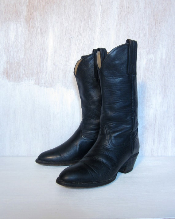 vintage FRYE black leather cowboy boots made in USA leather soles womens  8 9