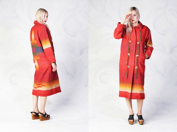 vintage WOOLRICH southwestern wool maxi coat with leather fringe and medallions women's medium