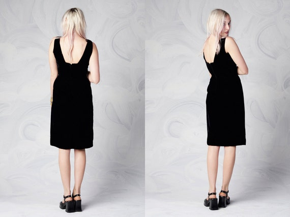 vintage 60's black velvet party dress knee length cocktail dress women's gothic