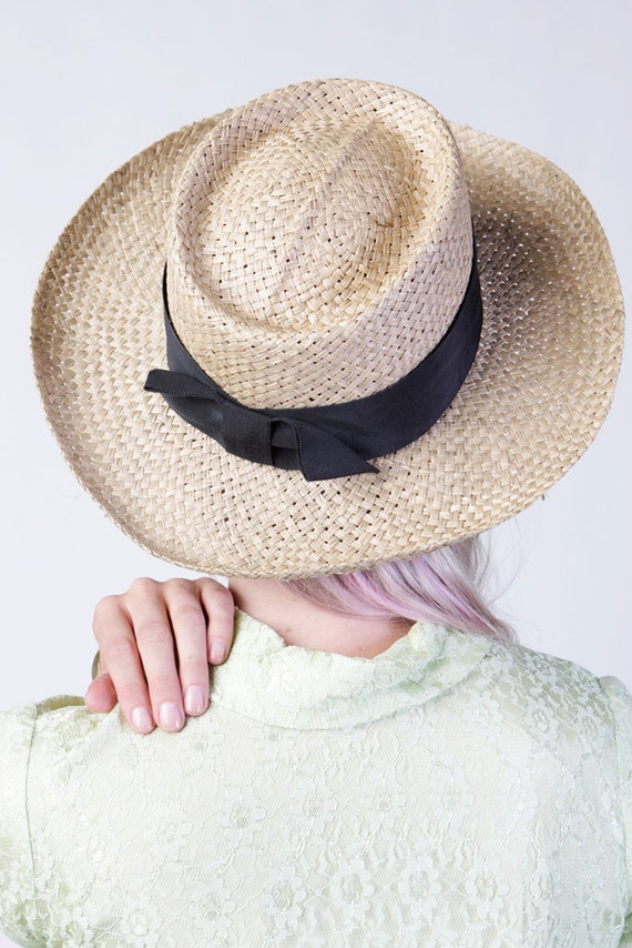 vintage let's picnic straw hat with black bow summer women's made in USA one size fits all