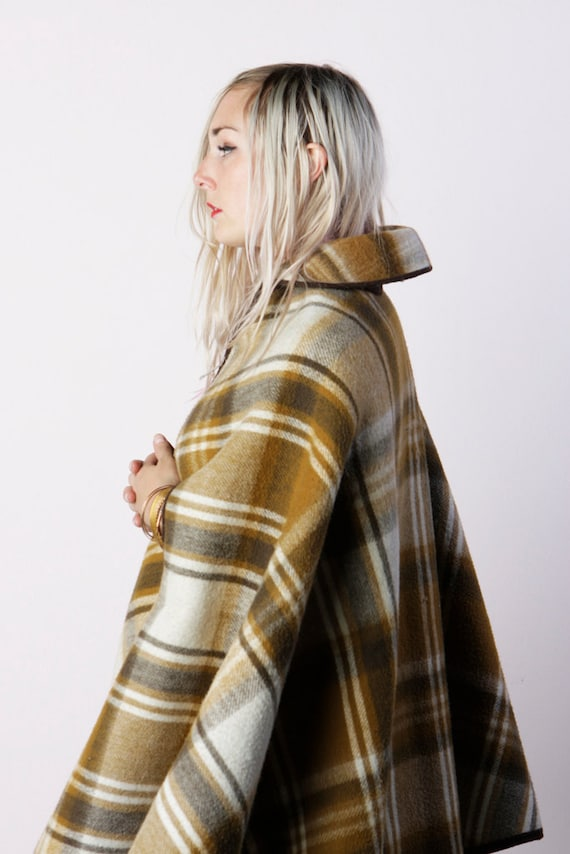 vintage 50's dance me to the end ochre and earth toned plaid wool cape preppy women's one size fits all