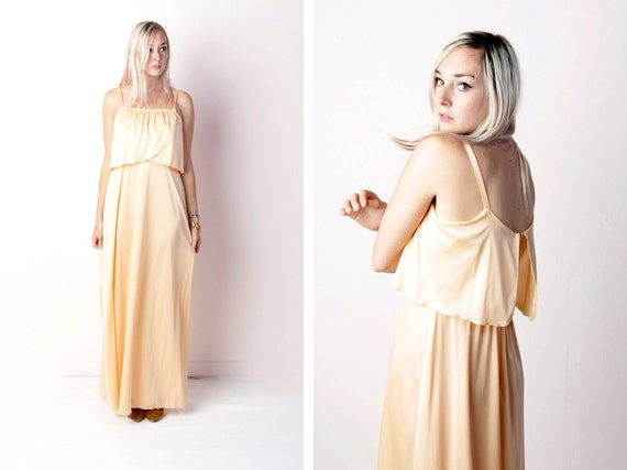vintage 70's peach maxi dress summer bohemian new old stock with tags women's jc penny