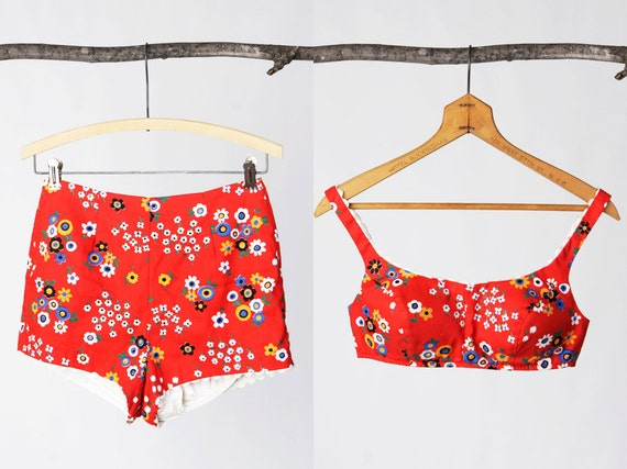 SALE vintage 60's flower print swimsuit  with high waisted shorts and bullet bra women's retro mod hip