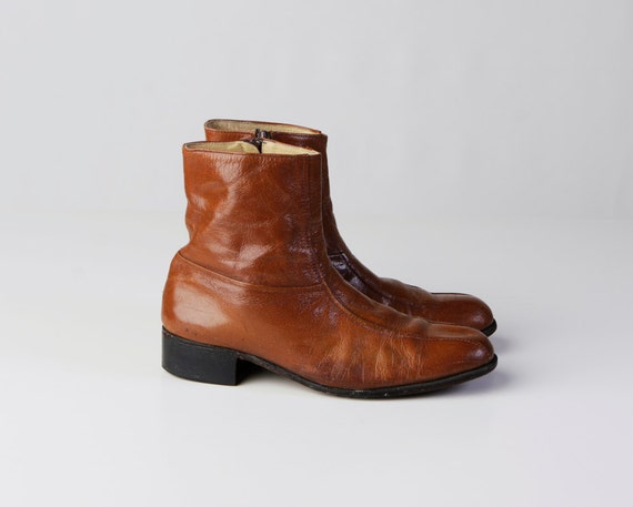 vintage 60's florsheim whiskey leather ankle boots zip up beatle boots women's 10