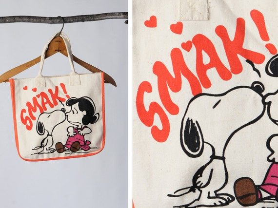 vintage 50's Be my VALENTINE charlie brown Snoopy Tote Bag, Canvas Bag, Retro Snoopy Womens Purse, SMAK and kisses
