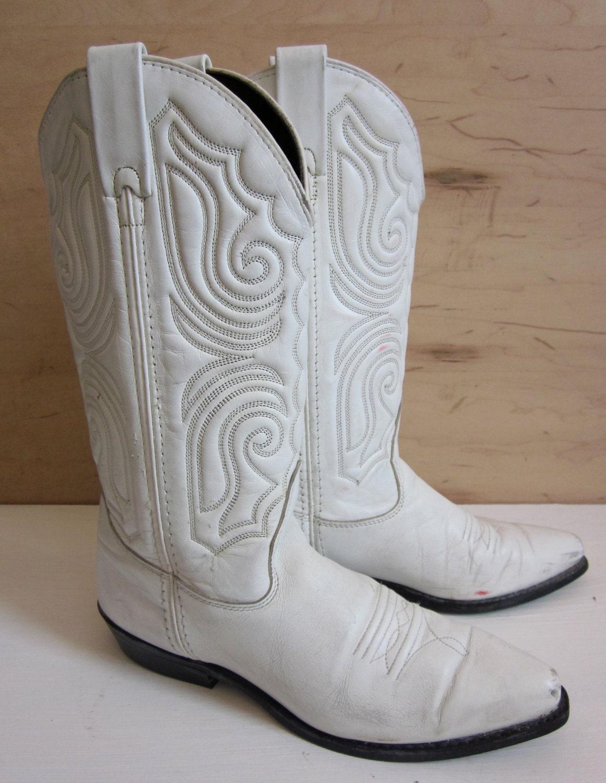 Vintage White Cowboy Boots Rockabilly Western Wear Ranch