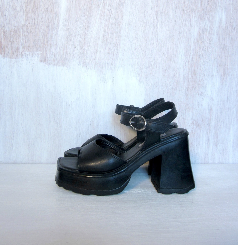 Vintage 90 S Black Goth Grunge Platform Sandals By Foxandfawns